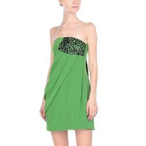 Tibi green short strapless silk shift dress 2